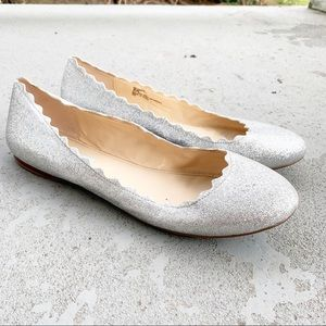 💜Betsey Johnson Flats Silver Sparkle Dance Flats